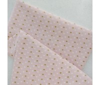Золотые и белые сердечки 0,5 см на розовом, 45-55 см