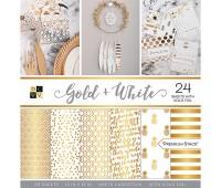 Набор бумаги одностороней с золотым фольгированием Gold & White