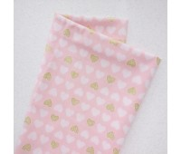 Золотые и белые сердечки 1,5 см на розовом, 45-55 см