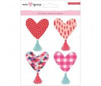 Наклейки 3D сердечки с кисточками Heart Tassels