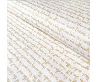 Ткань Michael Miller Золотые надписи на белом, 45-55 см