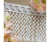 Кружево лиана на широкой основе, цвет белый, 17 см