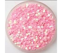Пайетки звездочки, цвет розовый, 3 мм