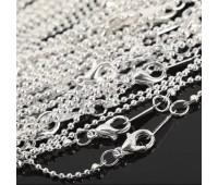 Цепочка на застежке, 1.5 мм, цвет серебро. Длинна 30 см