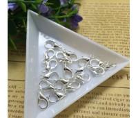 Застежка, 12 мм, цвет серебро, 2 шт