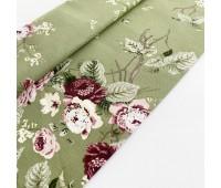 Ткань с водоотталкивающей пропиткой, пионы на зеленом