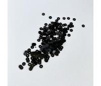 Пайетки круглые, цвет черный, 4 мм