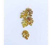"""Подвеска металлическая """"Листок монстеры"""", цвет золото, 2,2-3 см"""