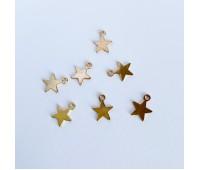Подвеска звездочка плоская металлическая, цвет золото, 0,8-1 см
