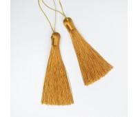 Подвеска кисточка, цвет горчично-золотой, 9 см