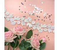 Кружево «цветы на ветке», цвет белый теплый, 30 см