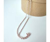 Цепочка на застежке, 3 мм, цвет бледно розовый. Длинна 70:см