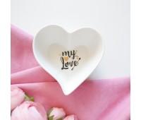 Тарелка декоративная сердце  my Love, с золотым фольгированием, 10,5х11 см