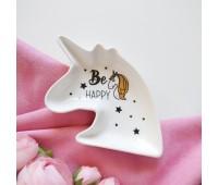 Тарелка декоративная единорог Be HAPPY, с золотым фольгированием, 12х15 см