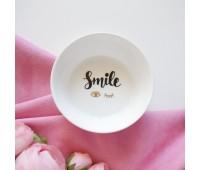 Тарелка декоративная круг  Smile, с золотым фольгированием, 12 см
