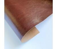 Переплетный глянцевый кожзам с разводами, цвет темно-коричневый, 25-35 см