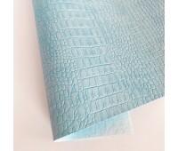 Переплетный матовый кожзам c фактурой крокодила, цвет голубой 50х140 см