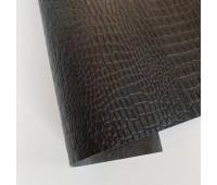 Переплетный матовый кожзам c фактурой крокодила, цвет черный 50х140 см