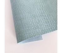 Переплетный матовый кожзам c фактурой крокодила, цвет серо-голубой 50х140 см