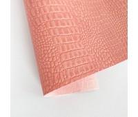 Переплетный матовый кожзам c фактурой крокодила, цвет персиковый 50х140 см