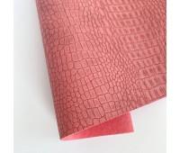 Переплетный матовый кожзам c фактурой крокодила, цвет пыльная роза 50х140 см