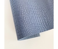 Переплетный матовый кожзам c фактурой крокодила, цвет сизый 50х140 см