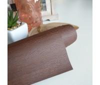 Переплетный матовый кожзам с текстурой дерево, цвет коричневый, 25-35 см