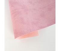 Переплетный матовый кожзам c фактурой мятой кожи Мантуя, цвет розово-сиреневый, 50х140 см