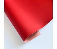Переплетный матовый кожзам с поверхностью ТАЧ, цвет красный