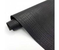 Переплетный матовый кожзам c фактурой крокодила, цвет черный