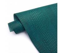 Переплетный матовый кожзам c фактурой крокодила, цвет изумрудный,  25х35 см