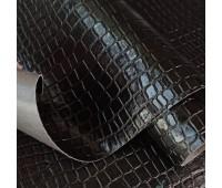 Переплетный глянцевый кожзам с фактурой крупный крокодил, цвет черный, 25х35 см
