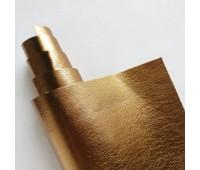 Кожзам стрейч, цвет винтажное золото метеллик 25-45 см