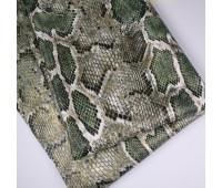 Кожзам стретч питон, цвет зеленый 25-34 см