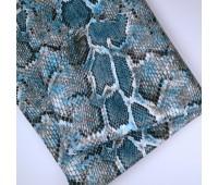 Кожзам стретч питон, цвет синий 25-34 см