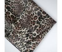 Кожзам стретч леопард,  цвет бежевый, 25-35 см