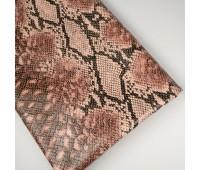 Кожзам стретч питон, цвет пудровый 25-34 см