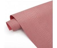Переплетный матовый кожзам c фактурой крокодила, цвет пыльно-розовый, 35*25 см