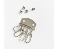 Карабины для ключей на 4 шт, цвет серебро