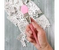 Силиконовая кисточка с кристалами для клея, цвет розовый