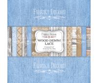 """Набор скрапбумаги """"Wood denim lace"""" 15x15см"""