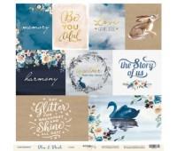 Лист бумаги односторонней с карточками Blue & Blush