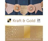 Набор бумаги односторонней с золотым фольгированием Kraft and Gold, 15x15 см