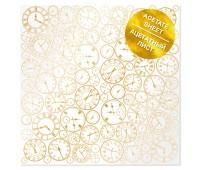 Ацетатный лист с фольгированием Golden Clocks 30,5х30,5 см