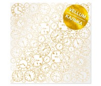 Лист кальки (веллум) с фольгированием Golden Clocks 30,5х30,5 см