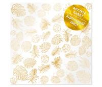 Ацетатный лист с фольгированием Golden Tropical Leaves 30,5х30,5 см