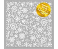 "Ацетатный лист с фольгированием ""White Snowflakes"""