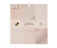 Набор бумаги односторонней c белым глитером Solid Whites