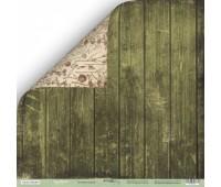 Лист двусторонней бумаги Зелёные доски из коллекции Cozy Forest,  30-30 см