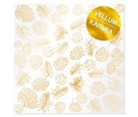 """Калька (веллум) с фольгированием """"Golden Tropical Leaves"""", 30,5х30,5 см"""